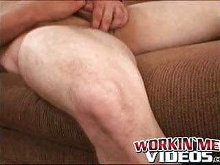 Mature stud pulls on his throbbing shaft while laying down