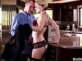Horny blonde Ash Hollywood, fucked hard on kitchen table