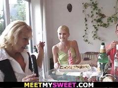 His Senior Parents Pummel Blond Teenie At Her Birthday