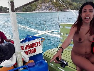 Filipino naturist couple nude boat trip...