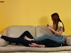 Ignored Fullweight Jeanssitting With Redhead Mistress Sofi
