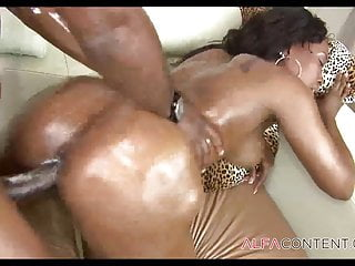 Ebony slut creampied...