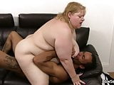Big belly plumper rides black meat