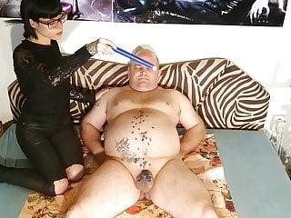 Slim goth domina wax torture her slave's cock & stomach pt1