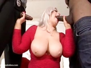 White babe get fucked by 2 big black...
