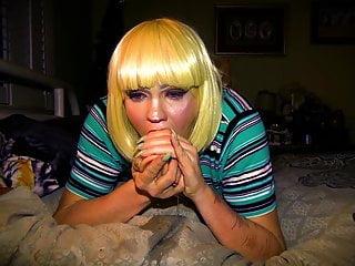 Blonde dildo...