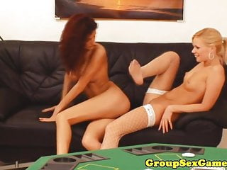 Gaming ffm threeway with lingerie beauties...