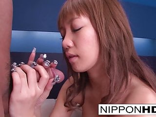 Japanese brunette has her wet pussy filled with cum