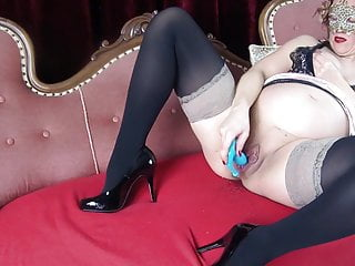 Squirts while enjoying her blue thunder...