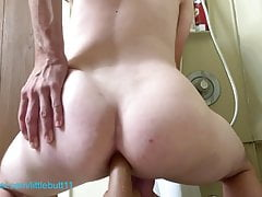 Sissy femboy become wet with precum while riding dildo