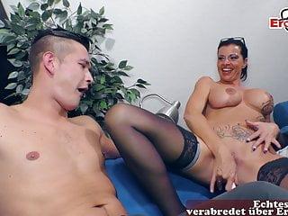 German female boss tits seduced by...