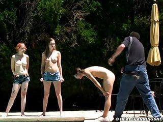 Three girl nude outdoor belt spanking...