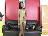 Thai girl with very very small pussy auditions for job