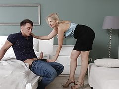 MATURE4K. Cheerful mature woman walked into man's room