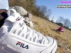 Fila Disruptor Shoeplay, Trample, dangling nylon feet and Crush