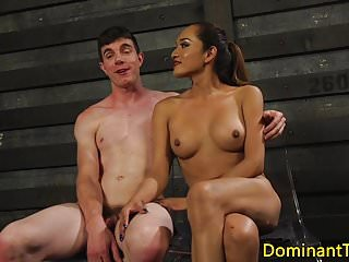 Busty latina bdsm ts rimmed by tiedup sub...