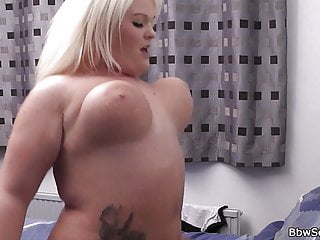 Hot blonde chubby cheating riding his big cock