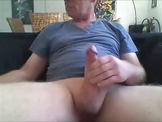 Cum on black sofa...