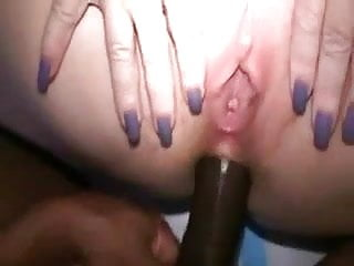 With great nails fingers her cunt during anal...