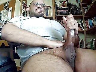 Daddy shoots load throbbing fat cock...