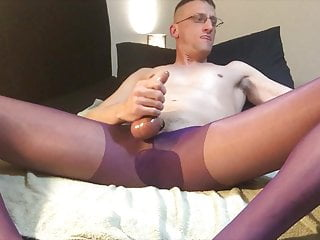 spunked in purple hose