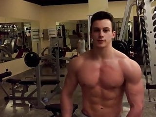 20yo bodybuilder poser in gym...