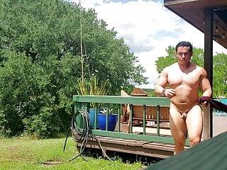 Muscle Hunk Butt Naked Sun Bathing