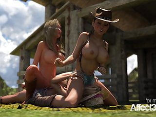 big threesome cowgirls tits having futanari sex Lesbian