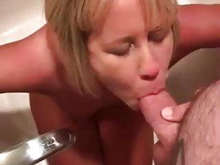 Mature milf swallows piss and cum...