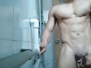 muscle chinese twunk JO, hard to ejaculate (2'03'')