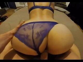 Sweetie bounces on cock, big ass Hungarian Milf blue panties