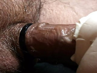 Veiny cock thrusting into heated rubber pussy and cumming
