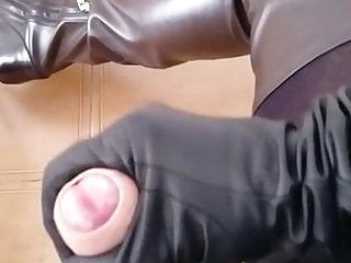 Cum in leather dress boots heels