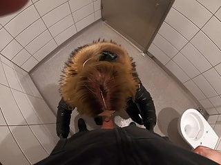 Svenja sucks stranger cock on motorway restroom...