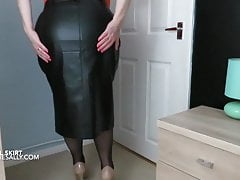 Sally wears her new tight leather look skirt