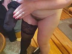 Black socks, hairy pussy, big nipples
