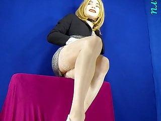 beige Blonde tan silvery high dress  heels  in stockings