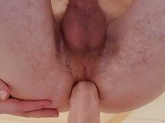 Bisexual virgin Teen Boy (18+) fucks 22cm huge Dildo Anal