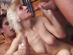 Blonde Mature Fucked Three-way All Holes