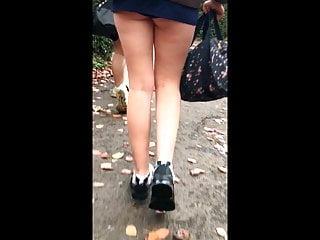 Teen College Upskirt video: Candid Uni Teen Miniskirt, Upskirt Panty and Bare Teen Legs