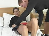 Injured girl gets fucked by her BF' bro