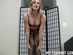 Rub your cock up and down my fishnets JOI