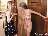 Fingering and pussy licking with hot MILF and stepdaughter