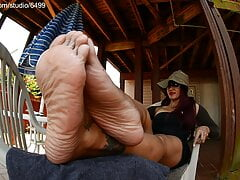 Foot Massage Outdoors For Barefoot Sexy and Pretty Latina Girl