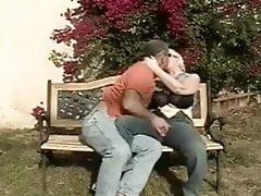 Garden fuck, Mature couple with Big Boobs