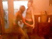 Two cute teens having fun stripping