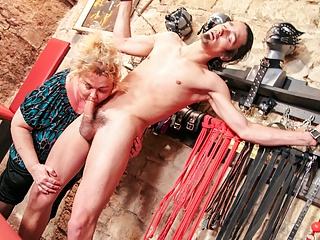 the Slave in Basement Mature BBW  Tortures Young