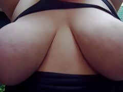 Ripped Top Exposes My Huge Tits