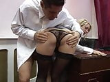 Slutty office assistant arouses her boss with a warm blowjob then gets pinned on the desk