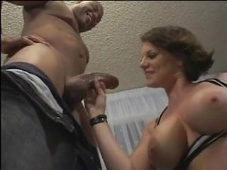 Chubby MILF with massive tits fucks and sucks